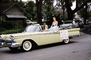 Ford Fairlane, Car, automobile, Strawberry Festival, Woman, Lakeland Parade, street, road, 1950's, PFPV05P13_15