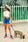 Girl with a Hat, Girl Walking her Dog, El Tule, Oaxaca, Mexico