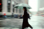 Woman Walking, rain, crosswalk, umbrella