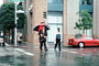 Man Walking, rain, crosswalk, umbrella