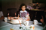 Girl, Cake, Cups, Table, tablecloth, frosting, paper cups, 1960's, PHBV03P06_03