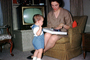 Mother, Son, Child, Present, Television, ribbon, chair, boy, woman, May 1967, 1960's, PHBV03P08_10
