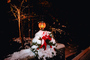 wreath, snow, lamp, cold, dark, night, nighttime