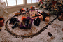 Railroad Tracks Train Set around the Christmas Tree, Decorated Tree, decorations, presents