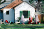 Christmas Tree, Santa Claus, lawn, front yard, sled, home, house, building, PHCV01P15_01