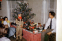 tiny tree, girl, boy, oiler, toy train, oilcan, village, Presents, Decorations, Ornaments, 1950's, PHCV03P08_08