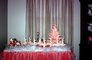 Tiny Tree, Small, Decorations, Ornaments, Santa Claus, reindeer, sled, cute, funny, pink tree, drapes, curtain, 1950's, PHCV03P13_16