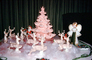 Tiny Tree, Small, Reindeer, Santa Claus, 1950's, Decorations, Ornaments, sled, cute, funny, pink tree, drapes, curtain, PHCV03P13_18