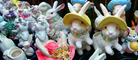 Bunny, Rabbit, Panorama, cute, hats, flowers, ceramic, PHED01_003