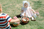 Girl with Bonnet, Backyard, Easter Basket, Lawn, Cute, toddler, Springtime, April 1965, 1960's, PHEV01P01_14