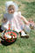 Girl with Bonnet, Backyard, Basket, Lawn, Cute, April 1965, 1960's, PHEV01P01_14B