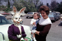 Rabbits, Bunny, Eggs, Girl, Woman, toddler, cars, April 1966, 1960's, PHEV01P02_15