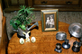 Easter, Eggs, Table, Picture frame, Plant, Plates, 1950's, PHEV01P08_05