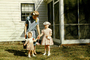 Girls, Dress, Sisters, Hats, Purse, corsage, bonnet, April 1956, 1950's, PHEV01P08_13