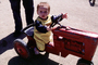 Boy, Tractor, Pedal Car, Steering Wheel, 1940's