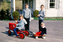 Tractor, Girls, Boys, Brothers, Sisters, Siblings, Cold, Jackets, Stockings, Smiles, Pedal Car, Hyspeed Wagon, April 1964, 1960's