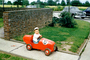 Boy, Driving, Pedal Car, Race Car, brick wall, 1940's