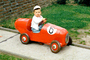 Boy, Driving, Pedal Car, Race Car, 1950's
