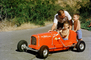 Red Race Car, Pedal car, Boys, Driving, Father, Son, Race Car, Russell Johnson Auto Painting, Hollywood California, 1950's