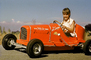 Girl, Smiles, Driving, Race Car, Russell Johnson Auto Painting, Pedal car, Hollywood California, 1950's