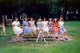 Teeter-totter, Balance, Sitting, Girls, fromal dress, August 1947, 1940's