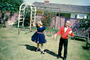 Backyard, boy, girl, dress, dressy, formal, April 1960, 1960's