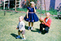 Girl, boy, ball, formal dress, Backyard, April 1960, 1960's
