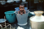 Boy, Pail, Bucket, Washing, Bath, Mumbai, India
