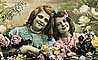 1920's, RPPC, Dress, smiles, two girls, fiends, flowers, PLPV17P06_10
