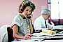 Business Woman, Paper Stacks, paperwork, documents, paperless, phone, bureaucracy, piles, 1980's
