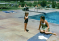Mother, Daughter, poolside, eiving board, Christine, Ojai California, Ventura County, 1949, 1940's