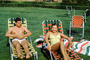 Woman, Man, Retro, Lounge, lounging, smiles, Lawn, September 1952, 1950's, RVLV01P02_06