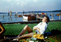 Recliner, Relaxing, Lounging Woman, Docks, Pier, Boat, Lake, 1940's
