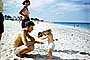 Father, Daughter, Beach, May 1951, 1950's