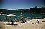 beach, sand, water, freshwater, umbrella, parasol, vintage, Lake Arrowhead, 1950's, RVLV06P15_01