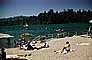 beach, sand, water, freshwater, umbrella, parasol, Lake Arrowhead, 1950's, RVLV06P15_02