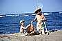 crab fishing, sand, beach, water, ocean, net, boys, hats, boats, Woodland Beach, 1950's, RVLV06P15_04