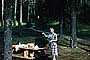 Woman, Forest, Picnic Table, 1950's, RVPV01P08_18