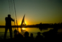 Dhow Sailing Boat, Nile River Sunset, Lateen sail, vessel, SALV01P05_07.1011