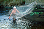 Man, Boy, Net Fishing, El Salvador