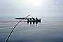 lake, water, fishing pole, boat, calm, Manitoba, Canada, 1970, 1970's, SFIV02P15_12