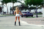 Lady Rollerblading on the Street, South Beach, Florida, SSRV01P06_19