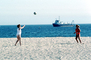 Volleyball on the Beach, Pacific Ocean, Playing, Women, Boat, ship, SVBV01P04_01