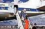 Stewardess, Disembarking Passengers, Flight Attendants, ramp stairs, Douglas DC-8, 1960's, TAAV14P14_04