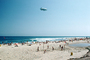 Volleyball, sand, waves, Malibu Beach, Goodyear Blimp, Pacific Ocean