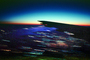 Boeing 747 Lone Wing in Flight, Twilight, Dusk, Dawn