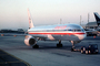 American Airlines AAL, Boeing 757, pushertug, pushback tug, tractor, towbar