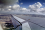Flaps, Airbus A320, Lone Wing in Flight, clouds, puffy, flying, airborne