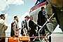 Boarding Passengers, Men, Suits, hat, briefcase, Stairs, steps, National Airlines NAL, 1950's, TAFV40P12_06