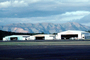 Hangars, buildings, mountains